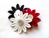 Tsumami Kanzashi Hair Flowers Black Red and White Cluster
