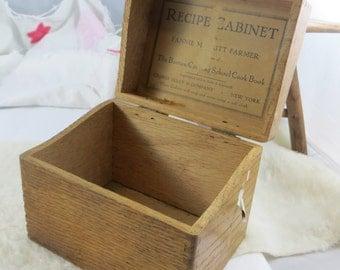 Fannie Farmer Wooden Recipe Box The Boston Cooking School Antique Recipe Cabinet Recipe Box Fannie Merritt Farmer