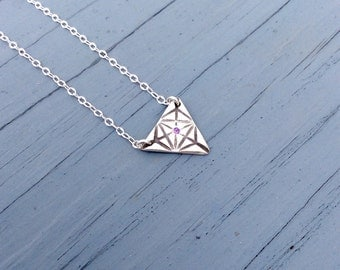 February Brithstone / Amethyst Necklace / Triangle Necklace / Art Deco / Geometric Jewelry / Geometric Necklace / Sacred Geometry /