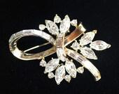 Sparkling Crystal Navette and Baguette Rhinestone Floral Design Brooch