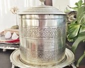 Antique Silver Plate Biscuit Barrel Engraved as Token of Grateful Respect