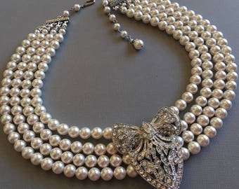 Great Gatsby Pearl Necklace with Rhinestone Brooch Art Deco style Earrings included 4 multi strands Swarovski Pearls Bridal Wedding sets