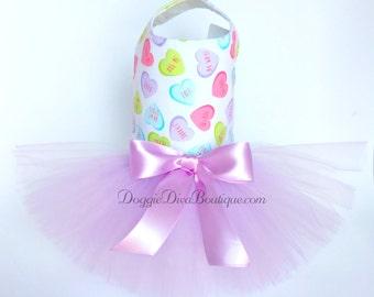 Sample Sale - Dog Dress, Dog Tutu Dress, Lavender Hearts Tutu Dress, Valentines Tutu Dress, Small