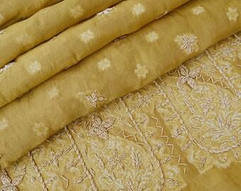Vintage Shawl/Stole. Regency Style. Gold Organza Brocade. Gilt Embroidery.
