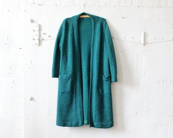 Teal Sweater Jacket S/M • Long Sweater Duster • Knit Sweater • Wool Duster Coat • Teal Sweater • Fall Jacket • Duster Sweater  | O295