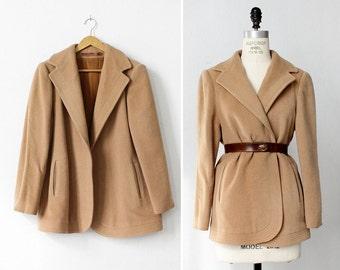 Vintage Wool Coat S • Camel Wool Coat • 60s Coat • Shawl Collar Coat • Winter Coat • Camel Coat • Coat Wool | O326