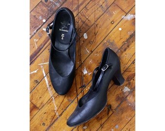 Dancing Mary Jane Heels 8 • Capezio Shoes • Vintage Heels • Black Leather Heels • Mary Jane Shoes • Dance Shoes • Jazz Shoes | SH257