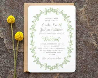 Botanical Wedding Invitation / 'Vintage Wreath' Elegant Rustic Wedding Invite / Sage Green Grey Gray / Custom Colors Available / ONE SAMPLE