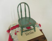 RESERVED LISTING for Dianna - Vintage Painted Wooden Doll Chair - Primitive Country Wooden Chair - Green Painted Chair - Christmas Decor