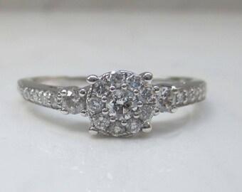Estate Modern .62 Diamond TCW Cluster 14k White Gold Engagement Ring, Size 9