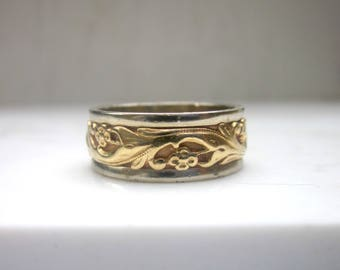 Estate 14k Solid Yellow Gold and White Gold Floral Detail Wedding Band, Size 8