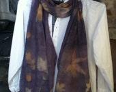 WOOL eco printed scarf overlaid with logwood 15 x 90