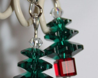 SALE: Swarovski Crystal Christmas Tree Earrings, Xmas Tree earrings, Christmas Jewellery, Sterling Silver, Swarovski Crystal Earrings