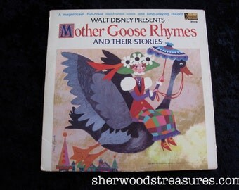 1969 Walt Disney Presents Mother Goose Rhymes and Their Stories Vinyl lp Disneyland Records  Album With Book