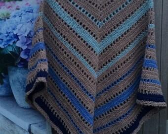 Crochet bohemian boho poncho blue sand *SALE*