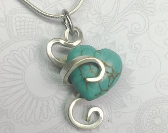 Cocktail Fork Necklace, Fork Pendant, Turquoise Magnesite Heart Gemstone, Silverware Jewelry, Fork Jewelry