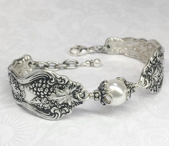 "Customizable Antique Spoon Bracelet, Silverware Jewelry, ""Moselle"" 1906"