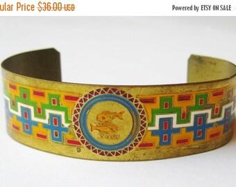 HOLIDAY SALE Vintage 40s Brass Enamel Zodiac Pisces Cuff Bracelet Large