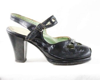 Size 4.5 Black Shoes - Small Size Pumps - Open Toe 1940s Black Leather Shoe - Deco Buckle Strap - 40s Deadstock - As Is - 4 1/2 - 48207