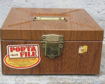 vintage metal file strong box with key faux wood grain midcentury industrial chic ballonoff home products