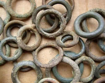 Set of brass vintage rings from harness