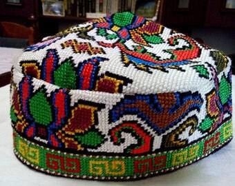 Uzbek silk hand embroidery traditional cap. Cross stitch emboidery