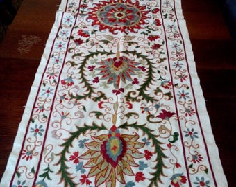 Silk on cotton embroidered table runner suzani. Bed cover, wall hanging, table cover. SW021