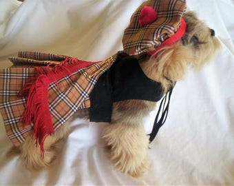 Black and Tan Harness Kilt and Hat for Dogs.....Sizes XXXS, XXS, XS, S, M, L