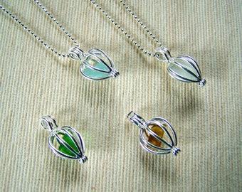 Caged Genuine Sea Glass Pendants