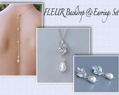 Pearl Earrings & Necklace Set, Backdrop Necklace Bridal Set, Wedding Jewelry Set, Silver Jewelry Set, Bridesmaid Jewelry Set, FLEUR 4