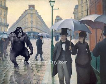 Gorilla PARIS RAINY DAY Caillebotte 19th Century Great Masters Parody  Print Monkey Ape