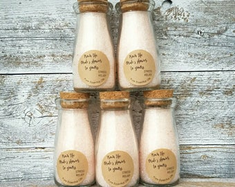 Bridal Shower favors, mini bath salts favors, from the Bride's shower to yours, pink shower favors, small bath salts bridal shower ideas