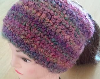 Ponytail Beanie - Pink, Purple, Green and Yellow