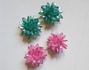 SALE 1950s 2 pairs Teal & pink iridescent bead cluster earrings / 50s plastic starburst clip on earrings