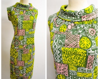 1960s Green pink yellow print funnel roll neck dress / 60s printed jersey wiggle drss - S