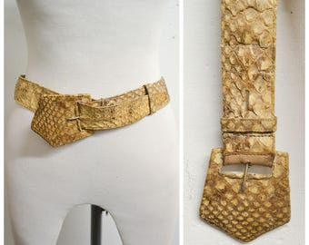 1930s Snakeskin Art Deco buckle belt / 30s snake skin reptile leather evening belt