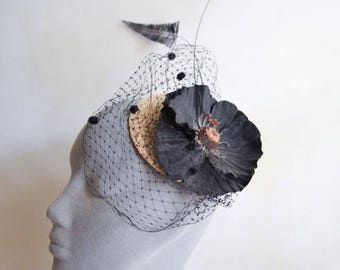 Vintage inspired natural straw headpiece with black poppy & veiling / ostrich arrow and quill fascinator