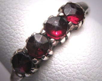 Antique Rose Cut Bohemian Garnet Ring Band Vintage Victorian Art Nouveau c1900