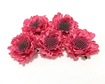 5 HOT PINK Scabiosa Blossoms - Artificial Flowers, OOAK Silk Flowers, Millinery, Wedding, Flower Crown, Hair Accessories