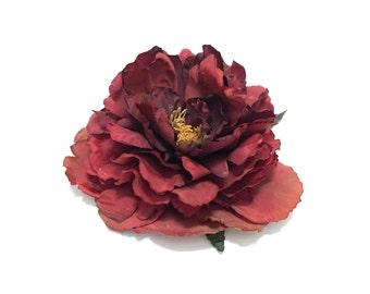 Jumbo RUST RED Artificial Peony - Artificial Flowers, Silk Flower, Wedding Flowers, Hair Accessories, Millinery, Flower Crown, Bouquet, Hat