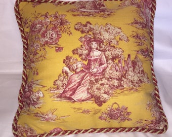 French Country Cottage Red Gold Stripe Floral Pillow Provence Cushion  Garden