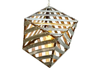 "SAFARI - ""Corasa"" - Wine Barrel Ring Pendant Light - 100% Recycled"