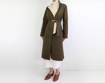 VINTAGE Reversible Jacket 1970s Belted Robe Jacket