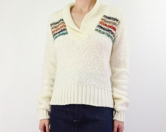 VINTAGE 1980s Sweater Collar Vneck