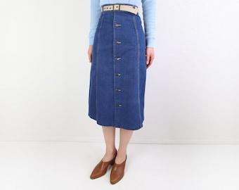 VINTAGE 1970s Denim Skirt Belted Aline Blue
