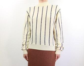 VINTAGE Stripe Sweater Navy Cream 1970s Knit