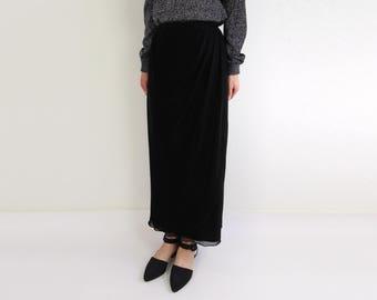 VINTAGE Black Wrap Skirt Metallic Shimmer Long 1980s