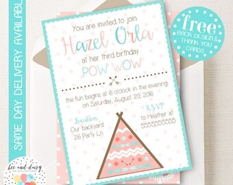 TeePee Invitation, TeePee Birthday Invitation, TeePee Birthday Party, TeePee Party Invitation, PowWow Party, BeeAndDaisy
