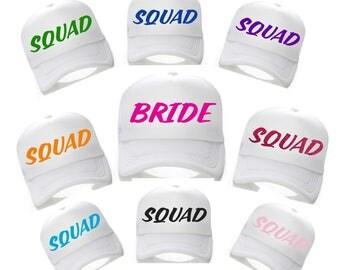 Set of 9 SQUAD baseball caps - bridal party hats - Bridesmaid , Bride - Bridal Party Baseball caps - bright bachelorette baseball caps