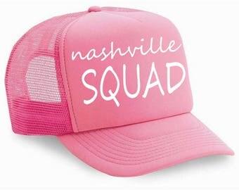 nashville SQUAD bachelorette caps . Bridal Party baseball caps . Nashville bachelorette weekend . pink and white bachelorette party hats